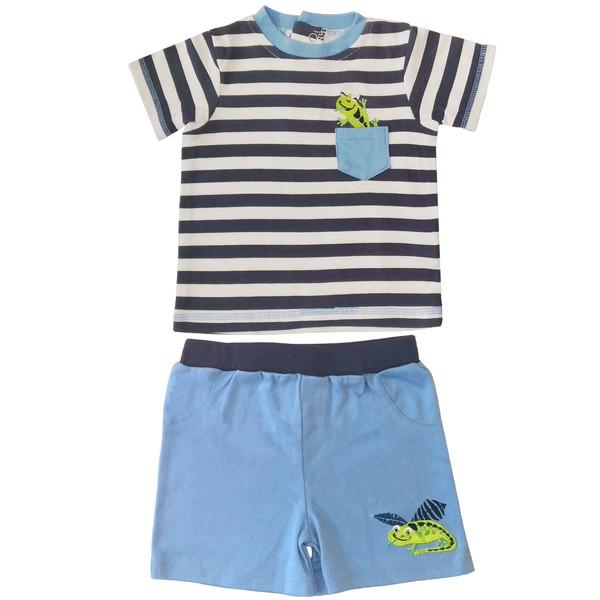 ست تی شرت و شلوارک نوزادی پسرانه طرح مارمولک کد FF-024