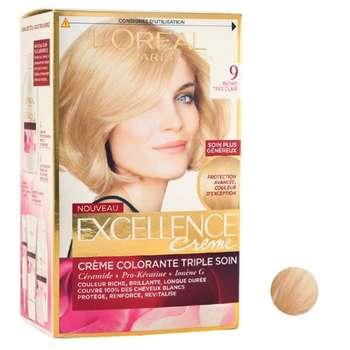 کیت رنگ مو لورآل مدل Excellence شماره 9 حجم 50 میلی لیتر رنگ بلوند خیلی روشن