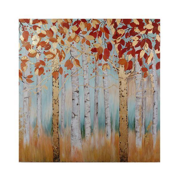 تابلو نقاشی ورق طلا طرح درختان پاییزی