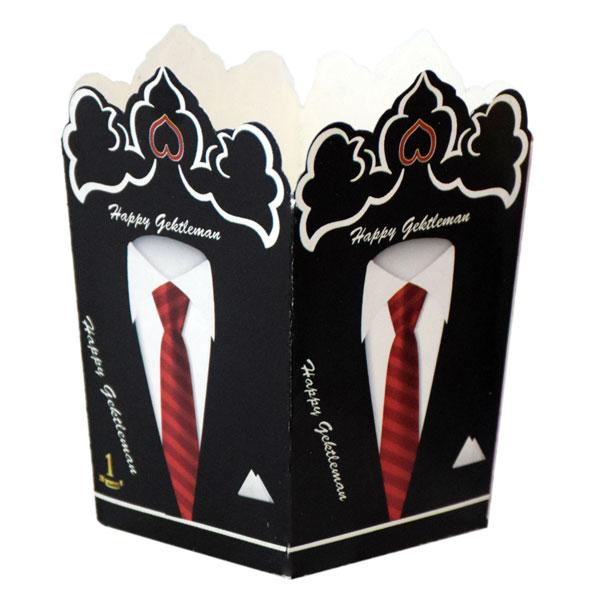 ظرف پاپ کورن مدل جنتلمن بسته 10 عددی