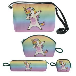 کیف دخترانه طرح اسب تک شاخ مجموعه 4 عددی