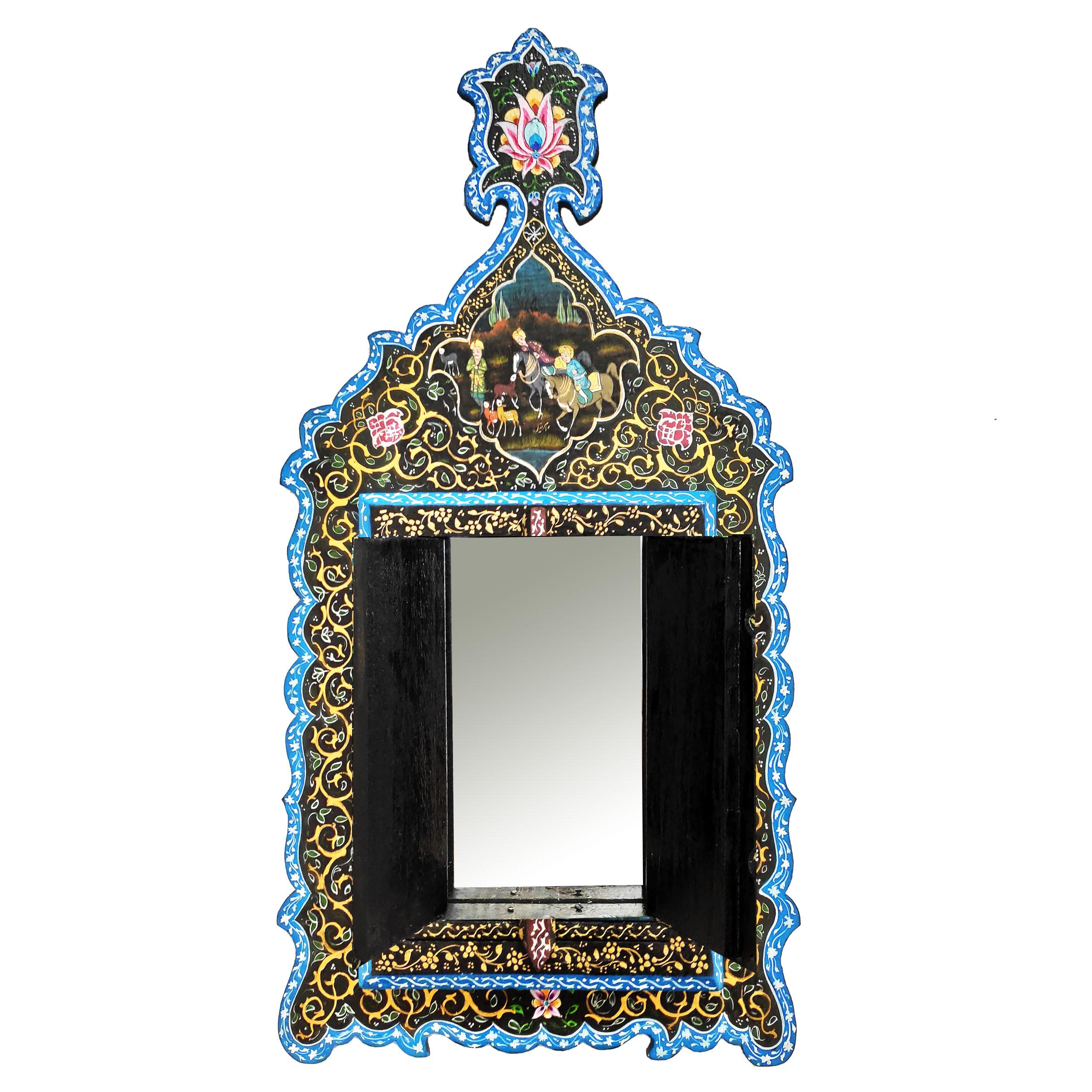 خرید                      آینه چوبی طرح شکار کد 03