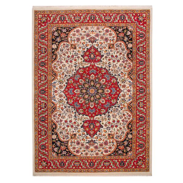 فرش دستباف شش متری فراهان طرح لچک و ترنج کد 121340