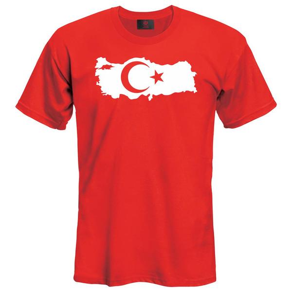 تیشرت زنانه نوین نقش طرح پرچم ترکیه کد 43043 رنگ قرمز