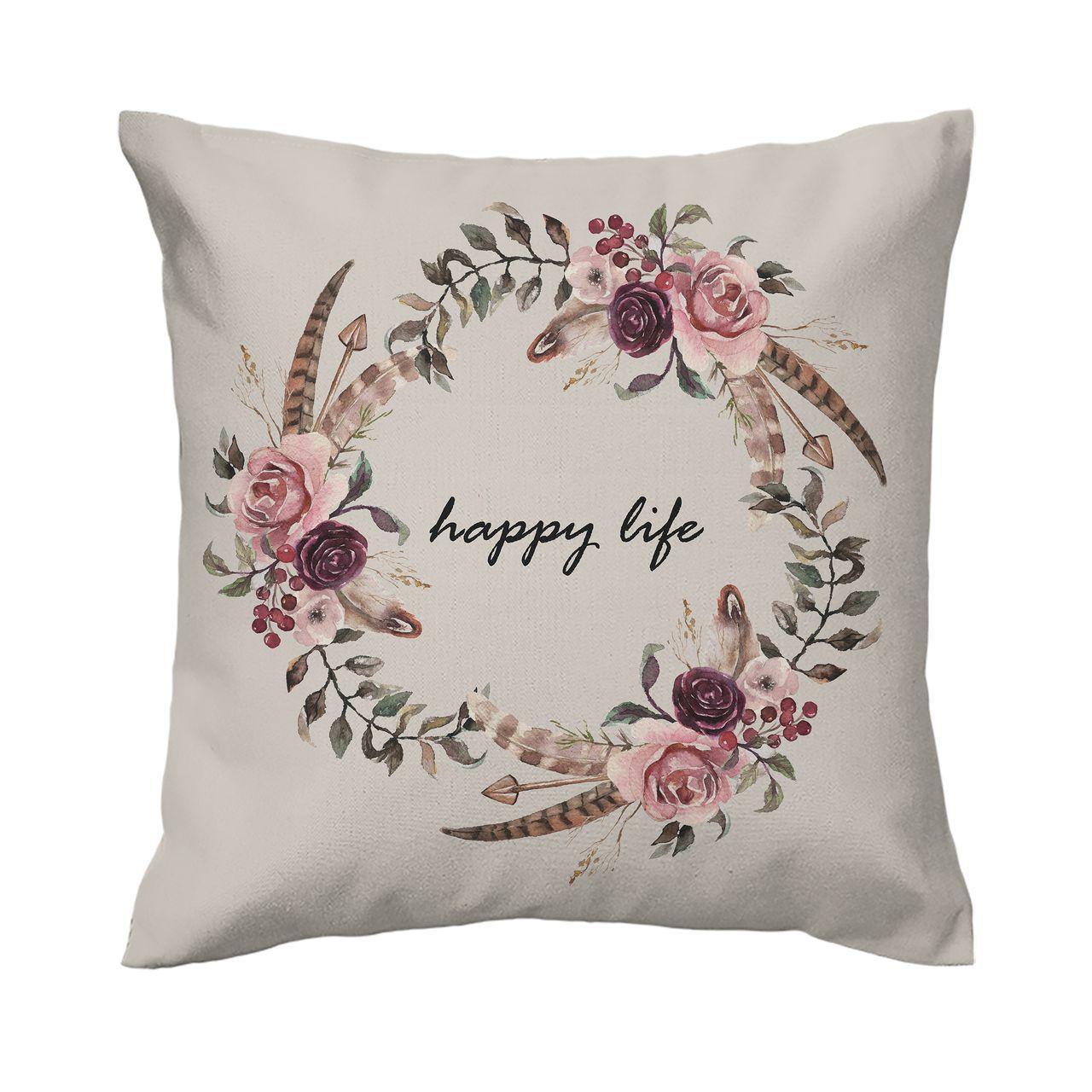 کاور کوسن طرح happy life کد 4128