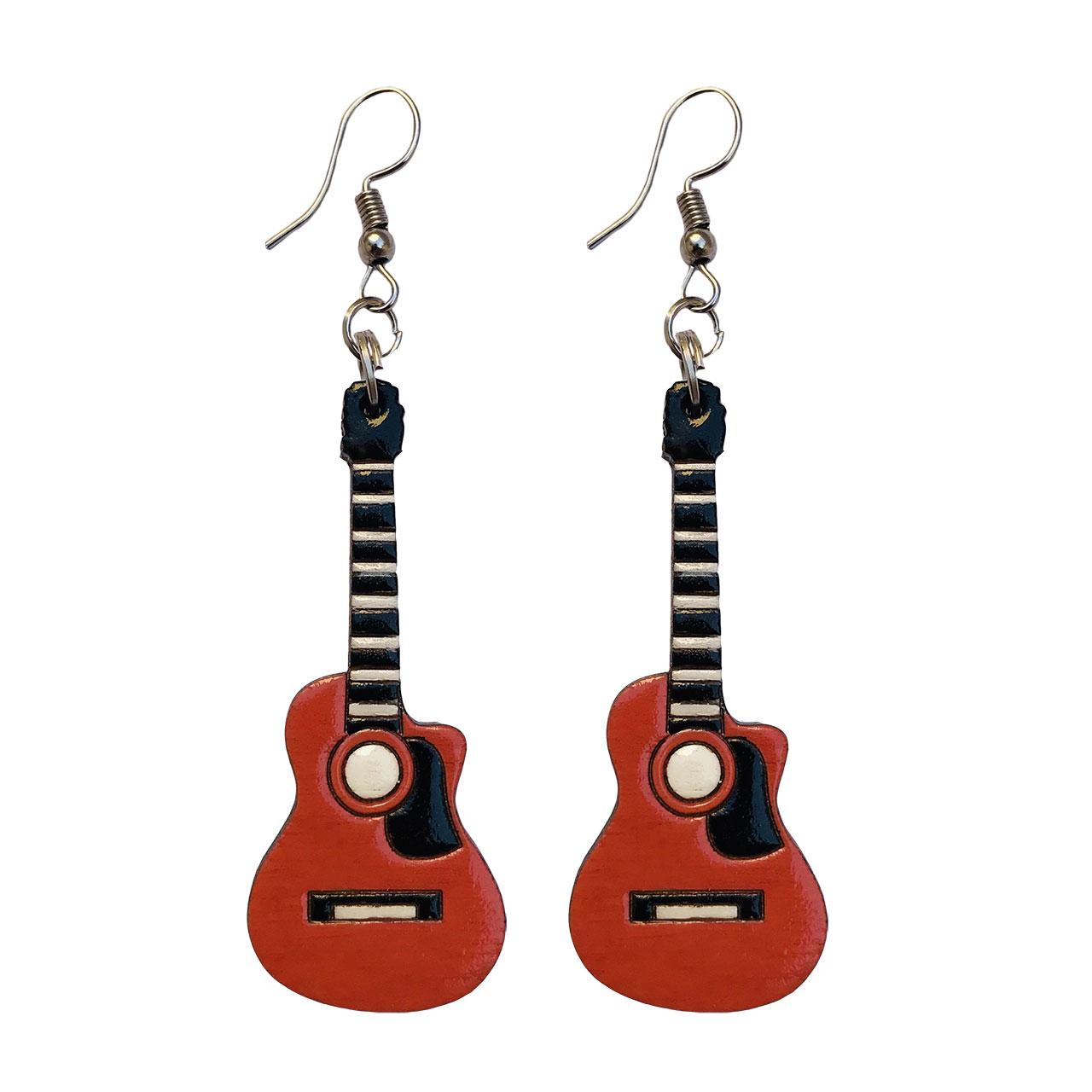 گوشواره زنانه طرح گیتار کلاسیک کد 012