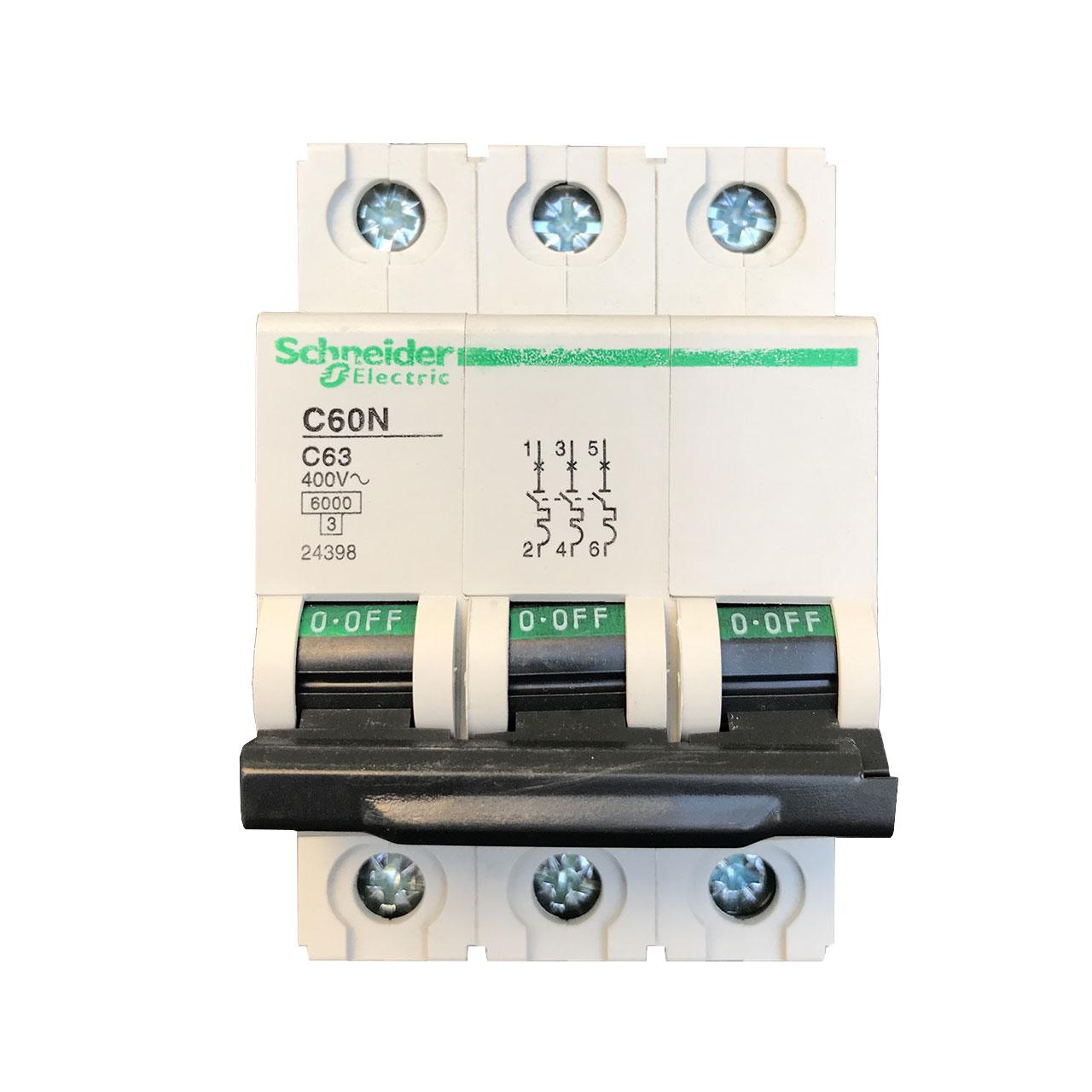 فیوز مینیاتوری سه فاز 63 آمپر اشنایدر الکتریک مدل C60
