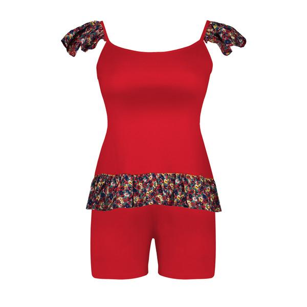 ست تاپ و شلوارک زنانه افراتین طرح گلدار کد 6538 رنگ قرمز