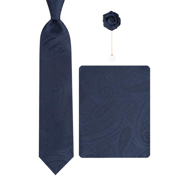 ست کراوات و دستمال جیب و گل کت مردانه جیان فرانکو روسی مدل GF-PA546-DB