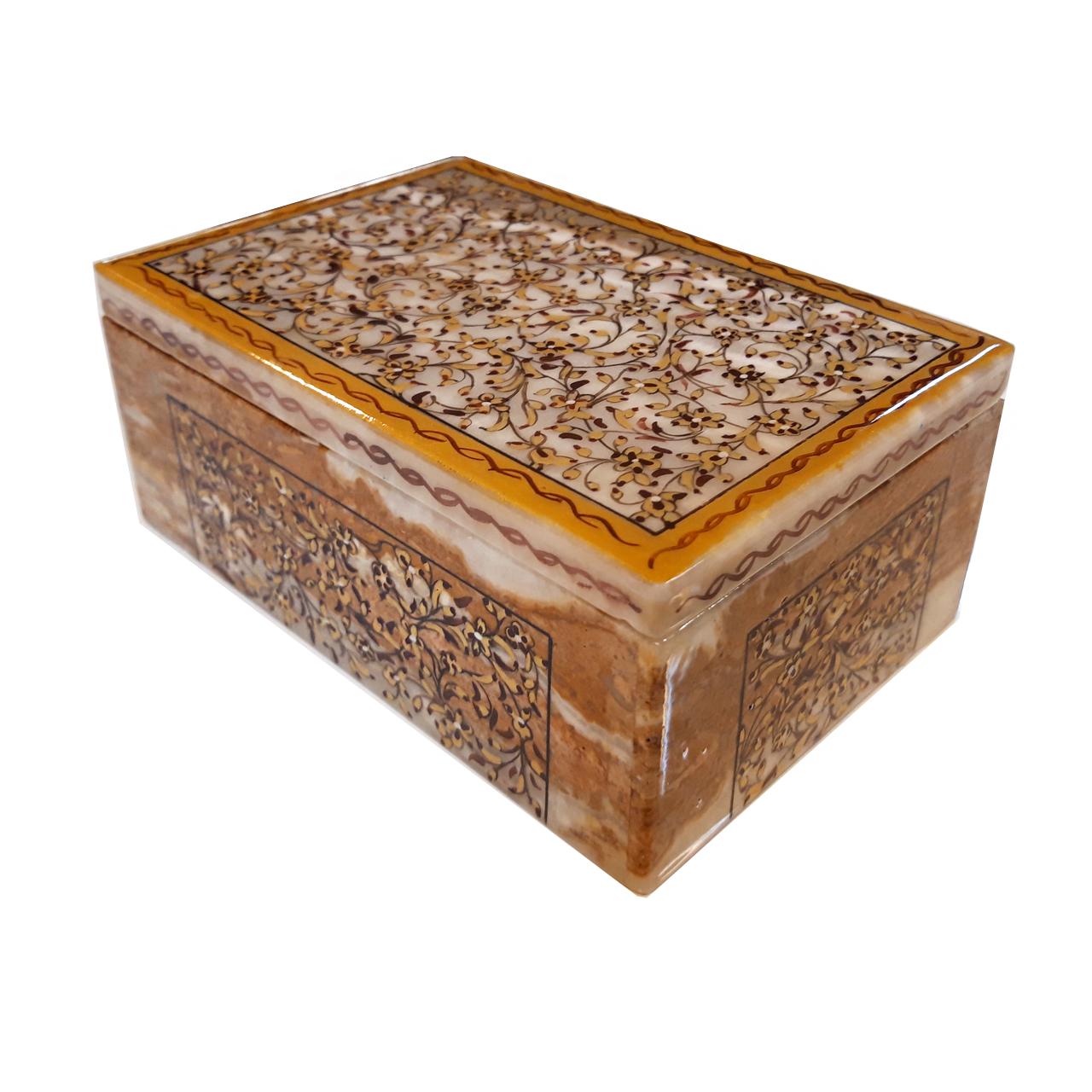 جعبه سنگ مرمر طرح گل ریز مدل 3001510-2