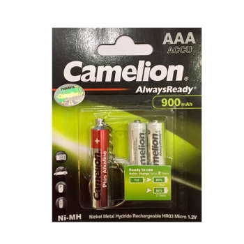باتری نیم قلمی قابل شارژ کملیون مدل Always Ready  بسته 2 عددی به همراه چراغ قوه