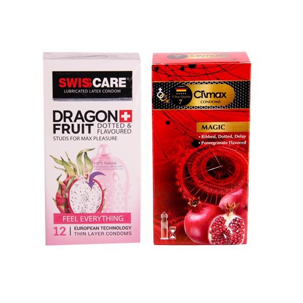 خرید                      کاندوم کلایمکس مدل magic7 بسته 12 عددی به همراه کاندوم سوئیس کر مدل DRAGON FRUIT بسته 12 عددی