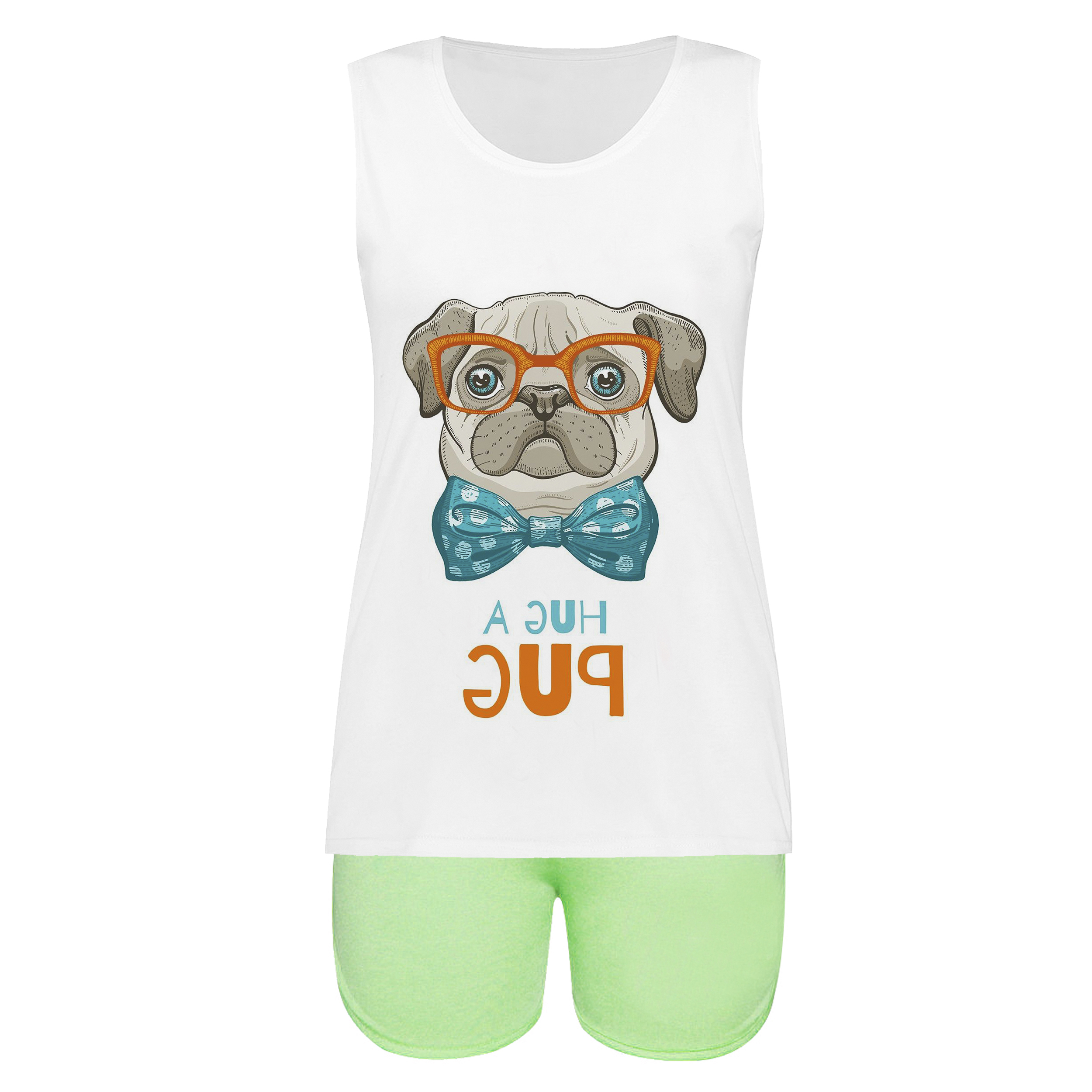 خرید                                       ست تاپ و شلوارک زنانه طرح A hug pug کد 01 gr