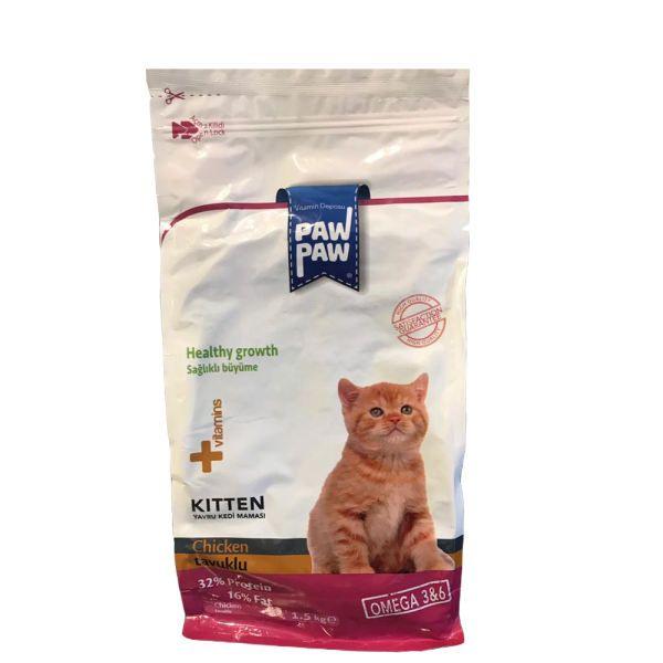 غذای خشک بچه گربه پاو پاو مدل Chicken & Omega3&6 وزن 1.5 کیلوگرم
