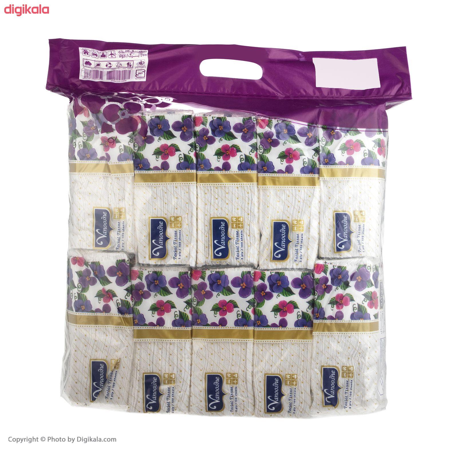 دستمال کاغذی 100 برگ ونوشه طرح Flower بسته 10 عددی main 1 6