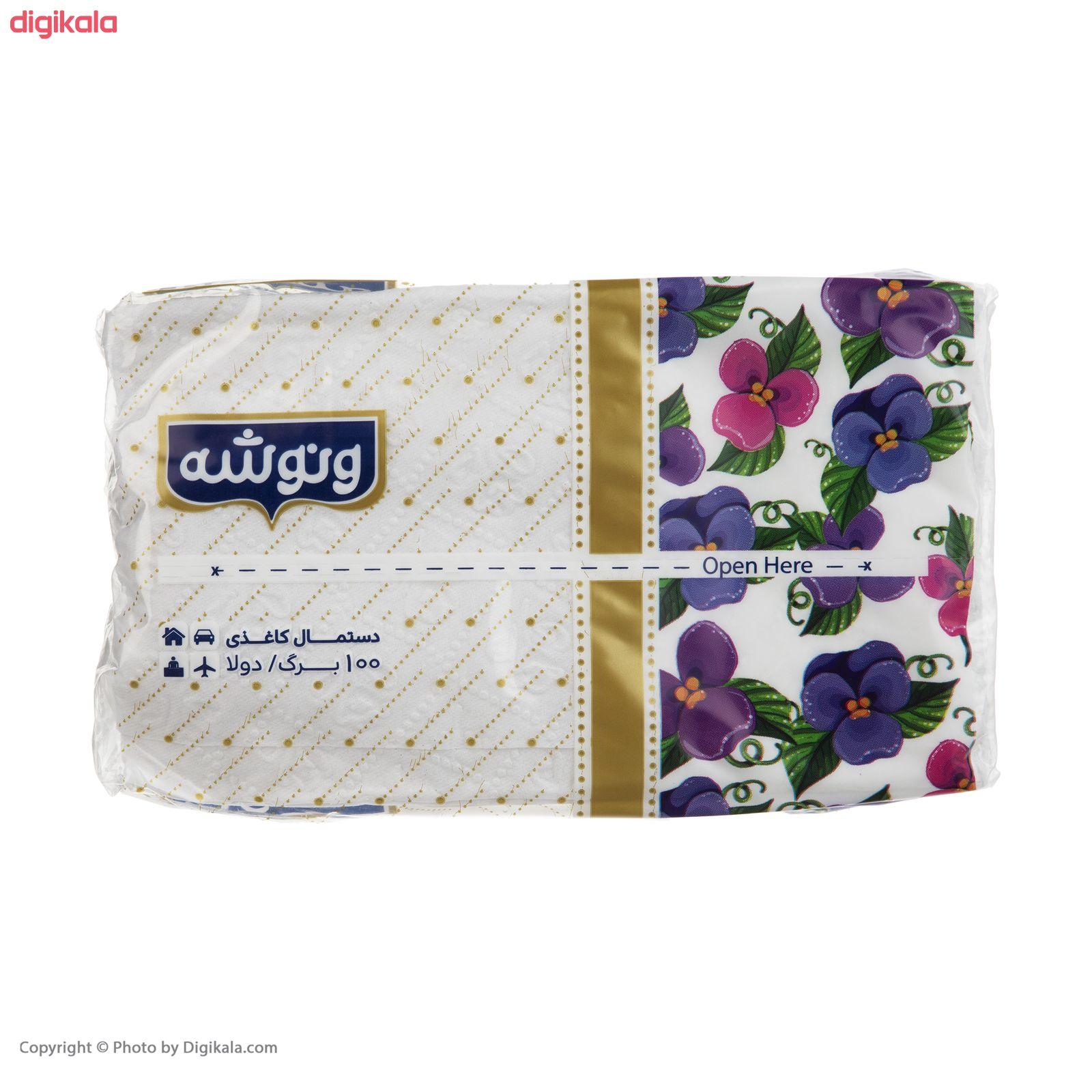 دستمال کاغذی 100 برگ ونوشه طرح Flower بسته 10 عددی main 1 5