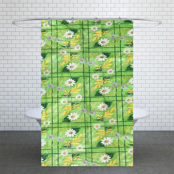 پرده حمام مدل برگ و گل سایز 180× 240 سانتی متر
