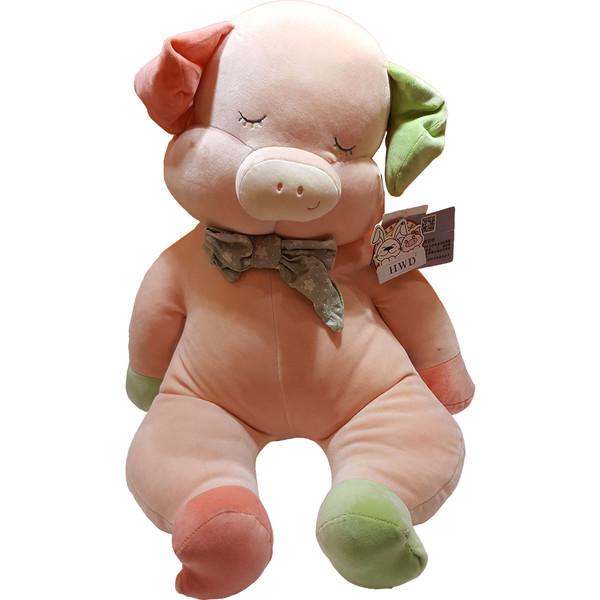 عروسک اچ دبلیو دی طرح خوک رنگارنگ ارتفاع ۳۰ سانتی متر