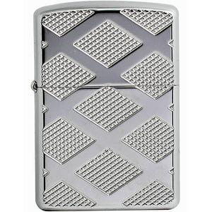 فندک زیپو مدل Carved Chrome Diamond کد 28637