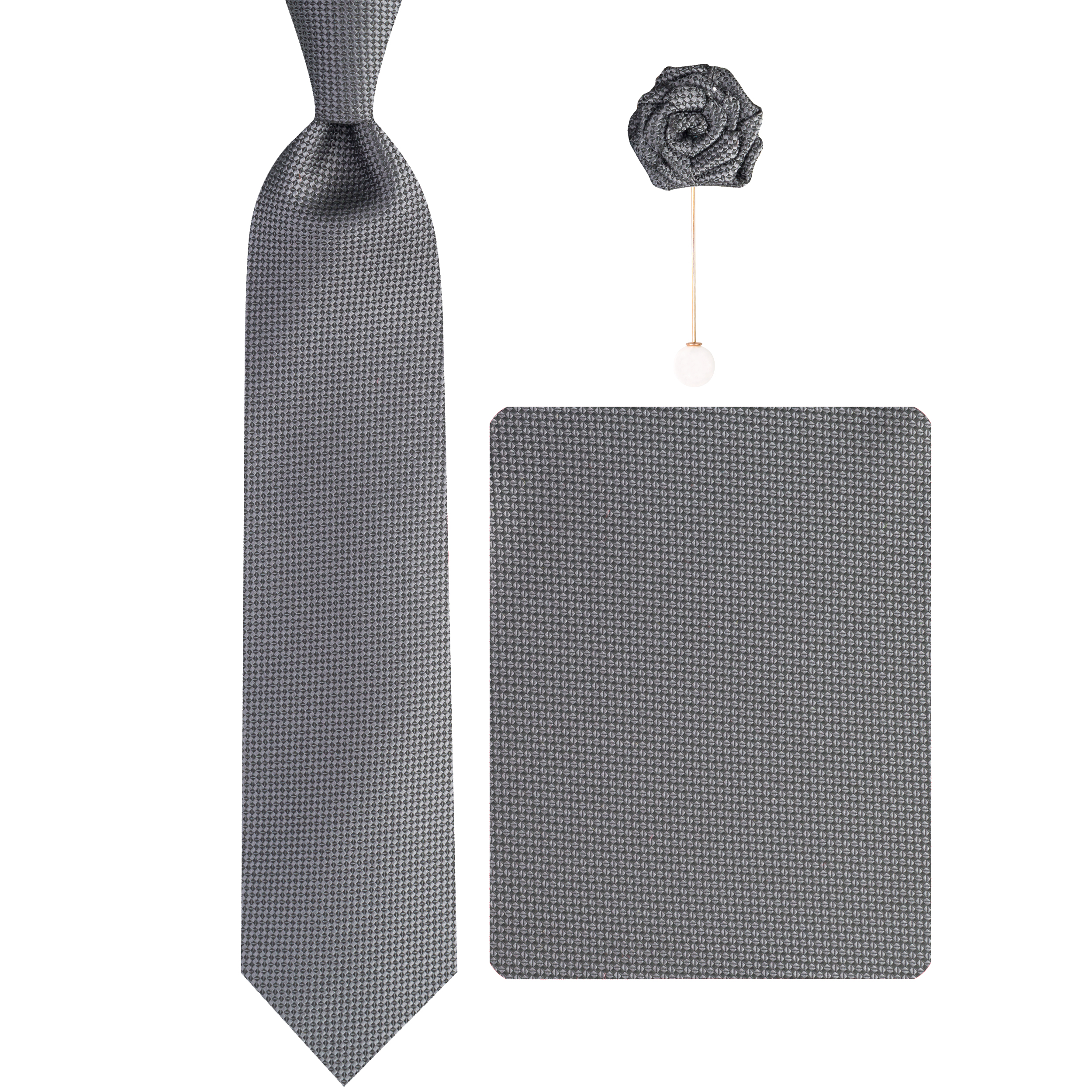 ست کراوات و دستمال جیب و گل کت مردانه جیان فرانکو روسی مدل GF-PA579-GR