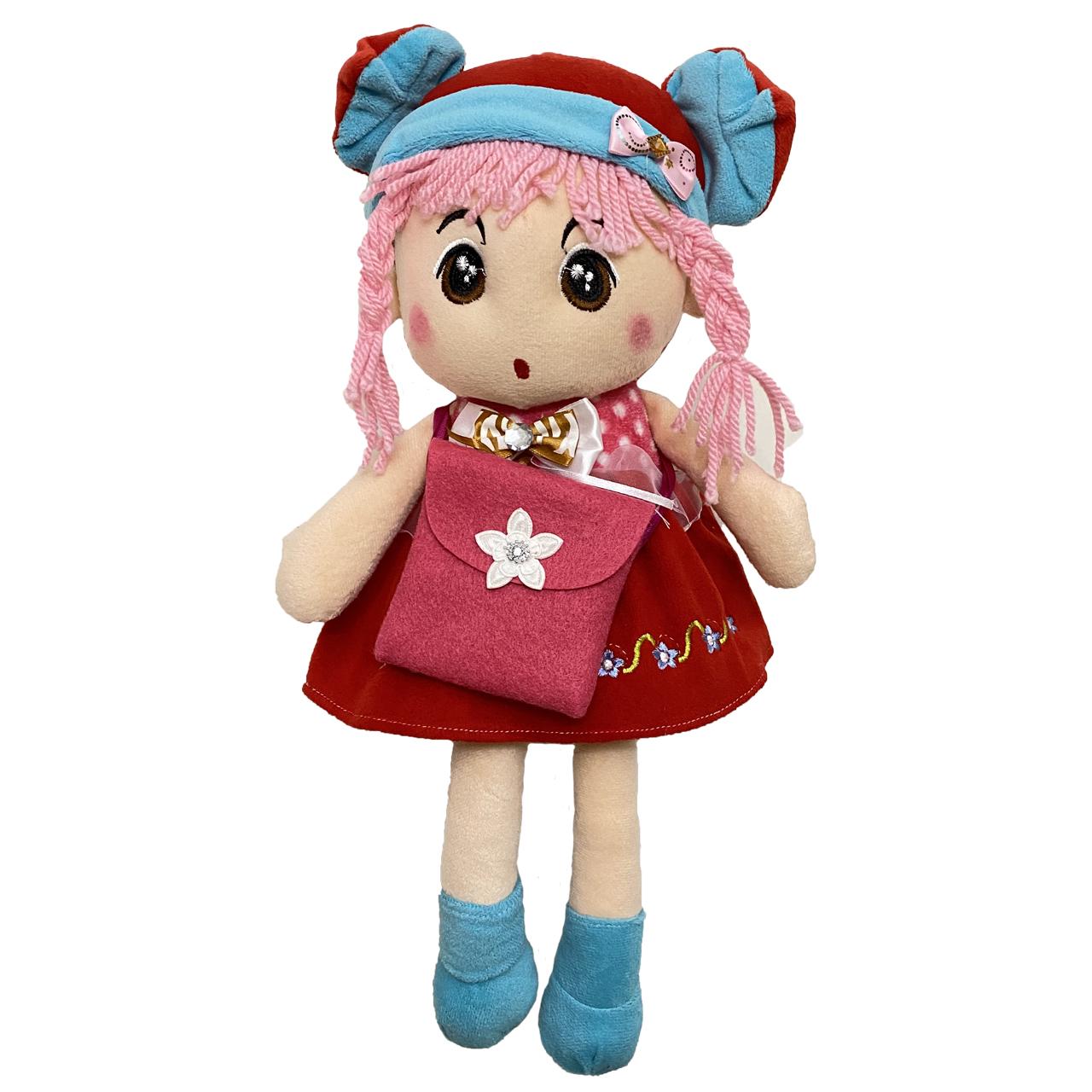 تخفیف خرید عروسک طرح دختر کیف دار موکاموایی ارتفاع 40 سانتی متر