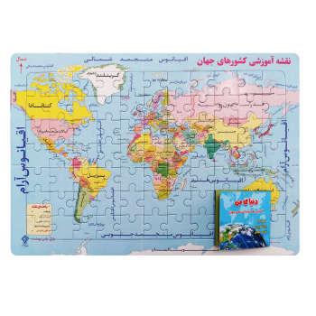 پازل 77 تکه یاس بهشت مدل نقشه آموزشی  قاره ها و کشورهای جهان