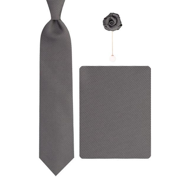 ست کراوات و دستمال جیب و گل کت مردانه جیان فرانکو روسی مدل GF-PA584-GR