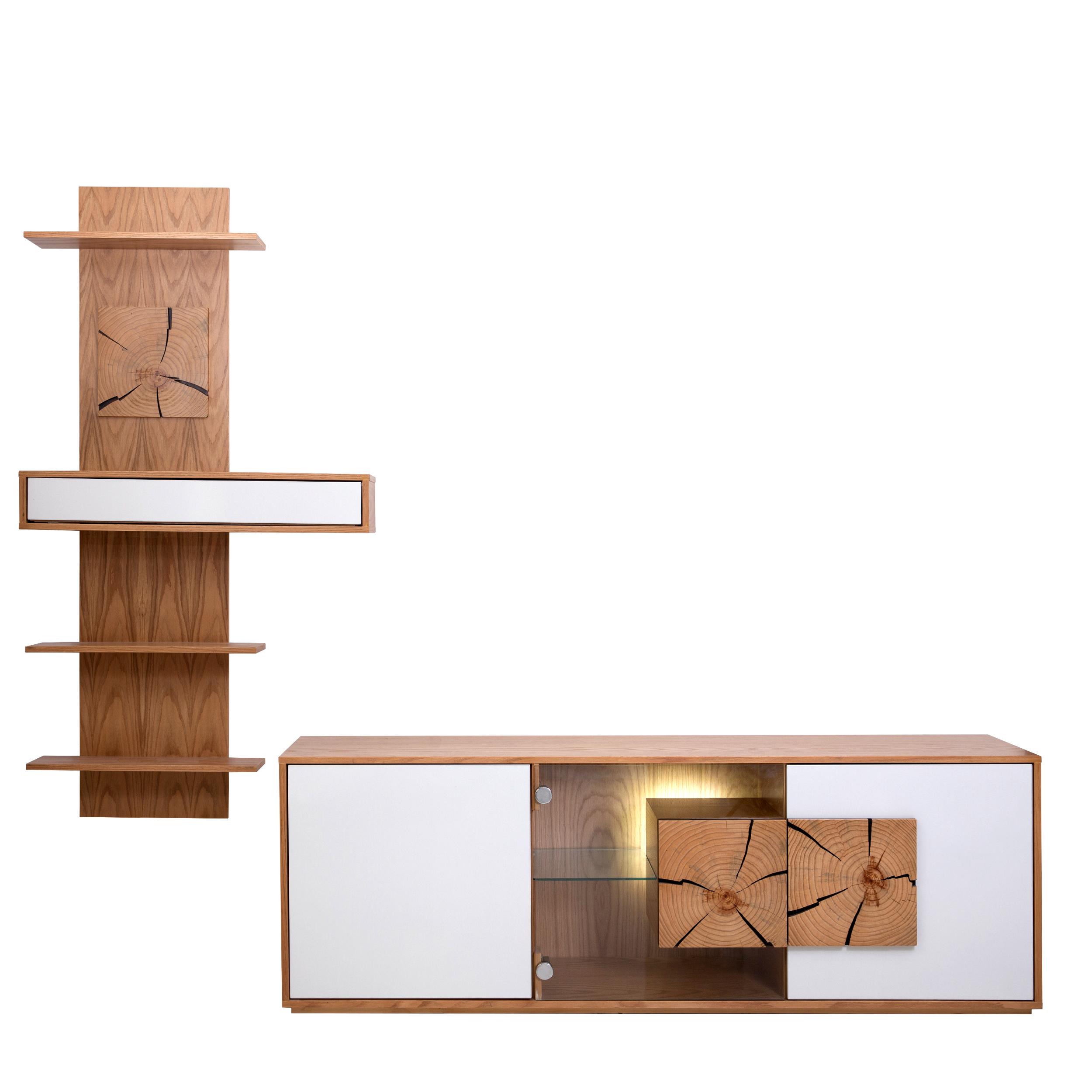 میز تلویزیون مدل نهال کد B300 به همراه شلف دیواری