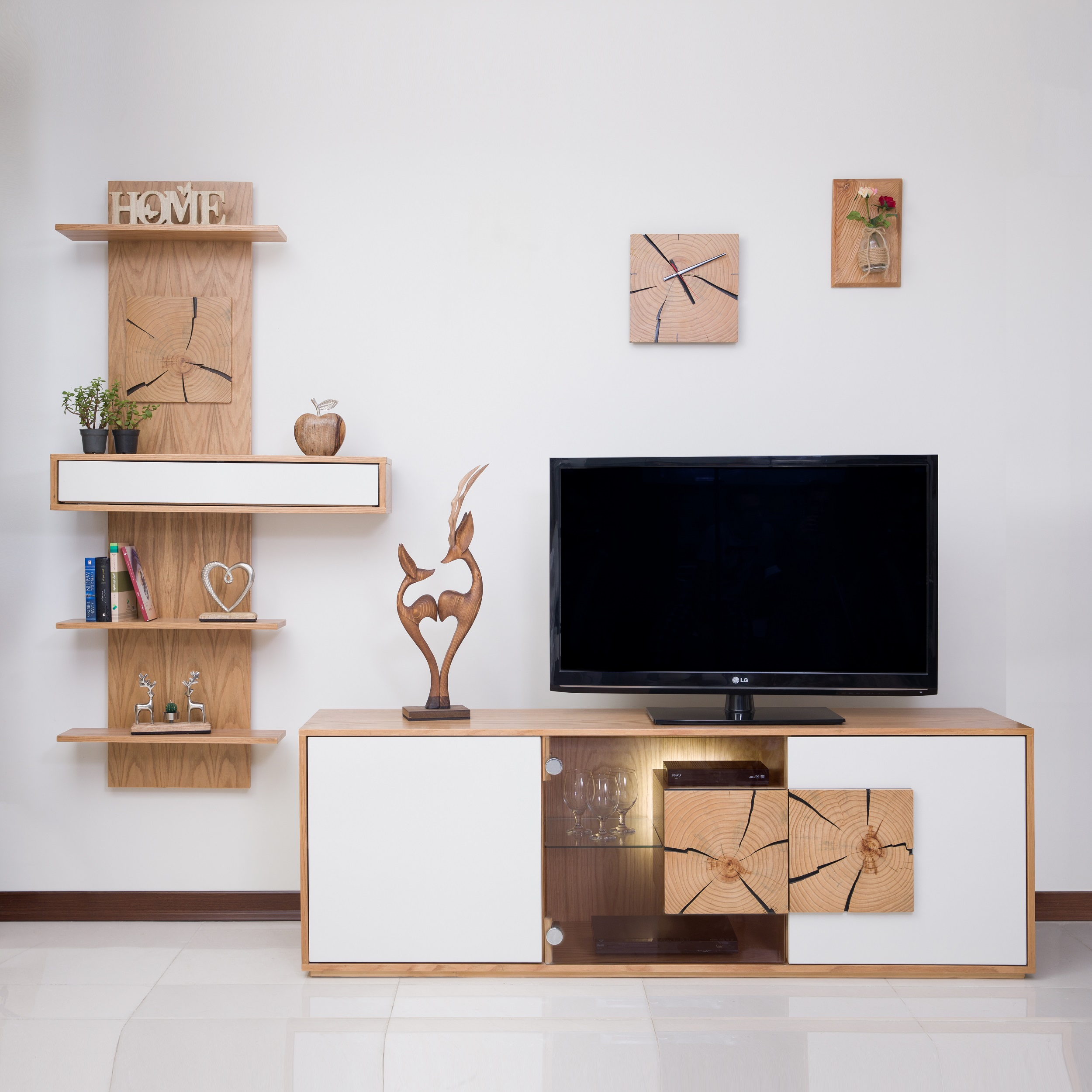 میز تلویزیون صنایع چوبی آذرباد مدل نهال کد B300 به همراه شلف دیواری