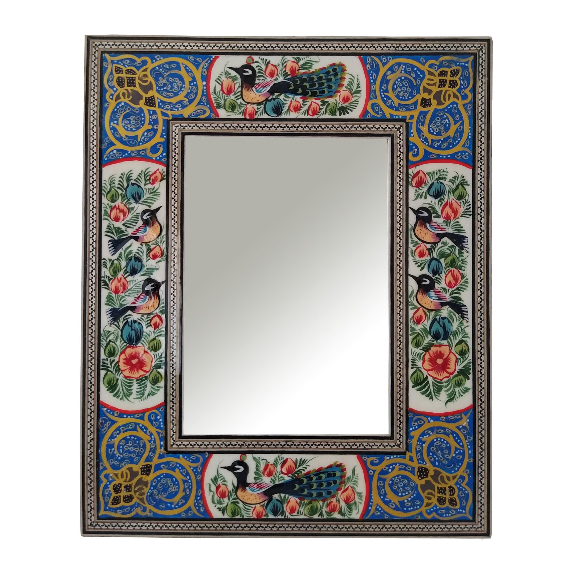 قاب آینه خاتم کاری مدل گل و پرنده کد 1318