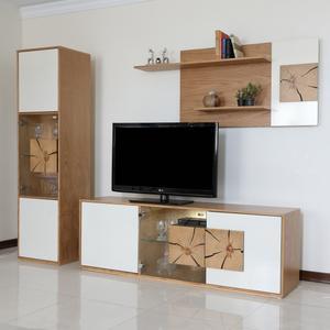میز تلویزیون صنایع چوبی آذرباد مدل نهال کد A300 به همراه شلف دیواری و ویترین