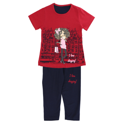ست تی شرت و شلوارک دخترانه طرح دختر شهری کد 03-134