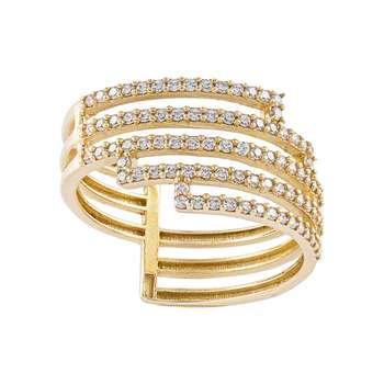انگشتر طلا 18 عیار زنانه جواهری سون مدل 2478