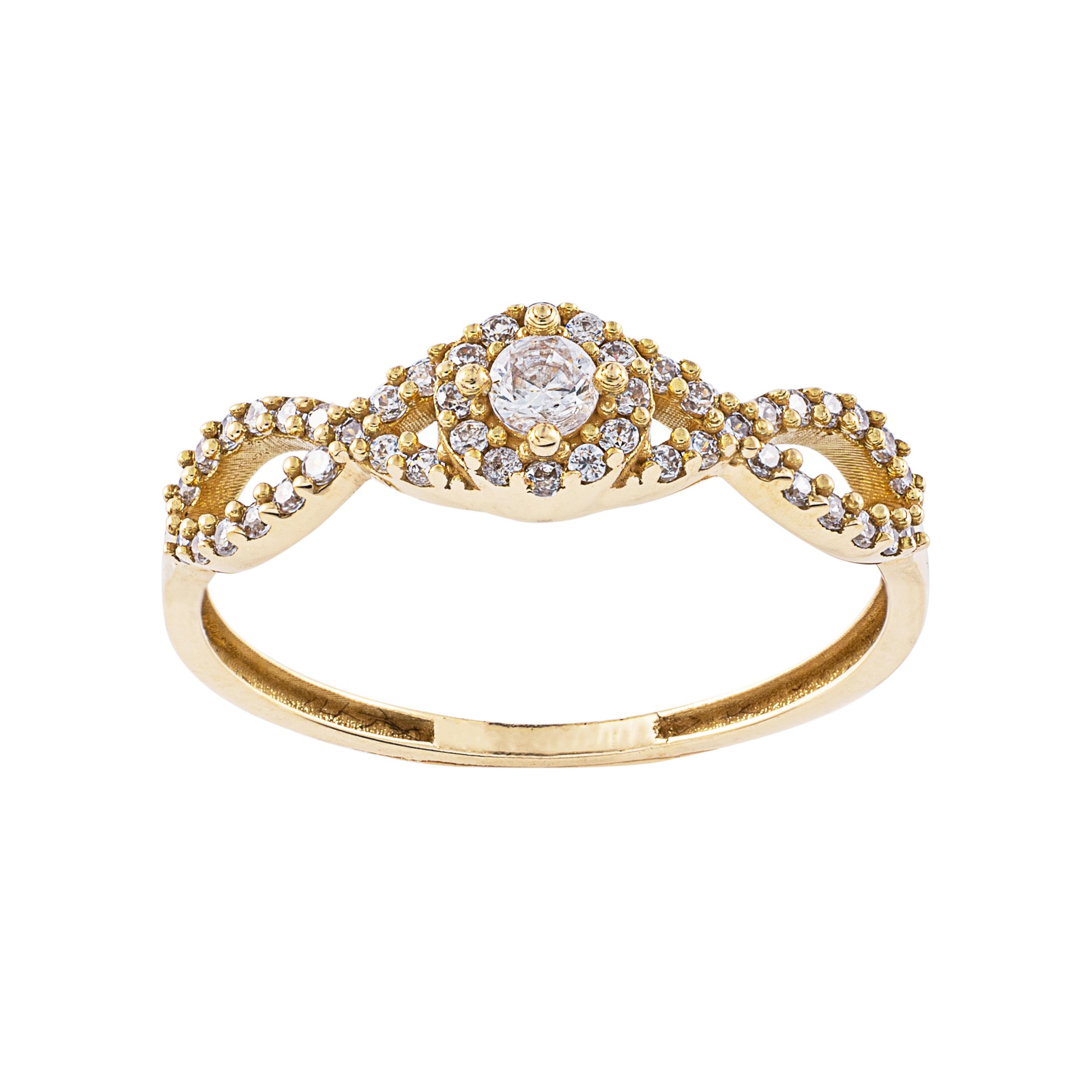 انگشتر طلا 18 عیار زنانه جواهری سون مدل 2474