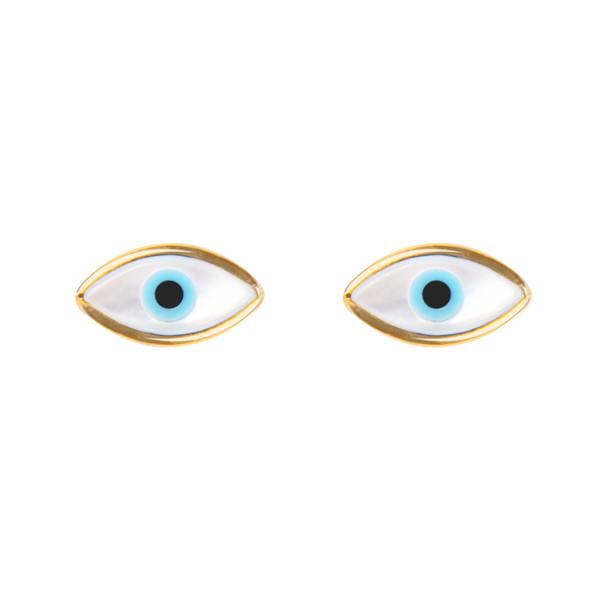 گوشواره طلا 18 عیار زنانه ریسه گالری طرح چشم نظر مدل 3018