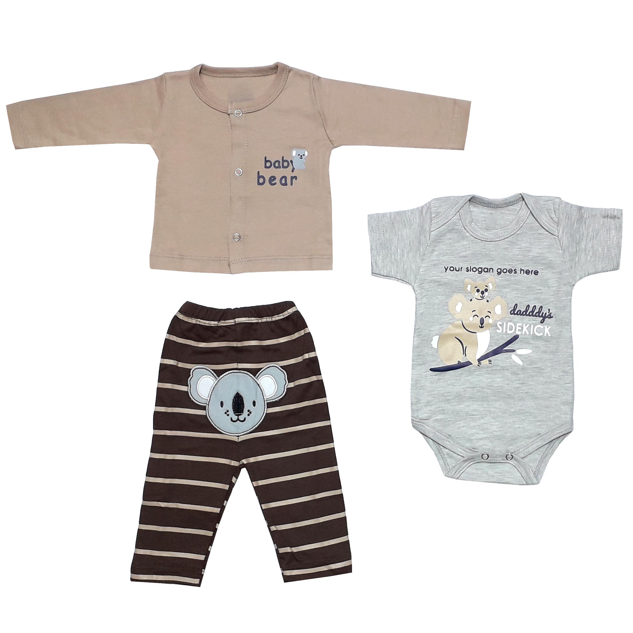ست 3 تکه لباس نوزادی پسرانه طرح کوالا کد 1101