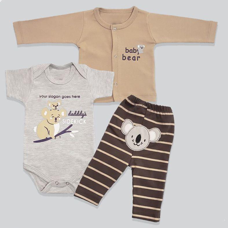 ست 3 تکه لباس نوزادی پسرانه طرح کوالا کد 1101 -  - 2