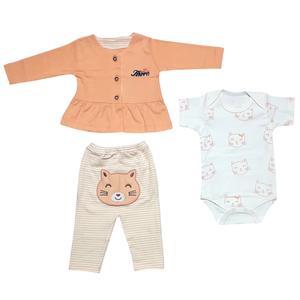 ست 3 تکه لباس نوزادی دخترانه طرح گربه کد 1102