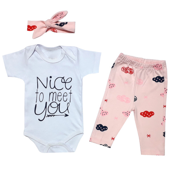 ست 3 تکه لباس نوزادی دخترانه طرح ابر کد 1104
