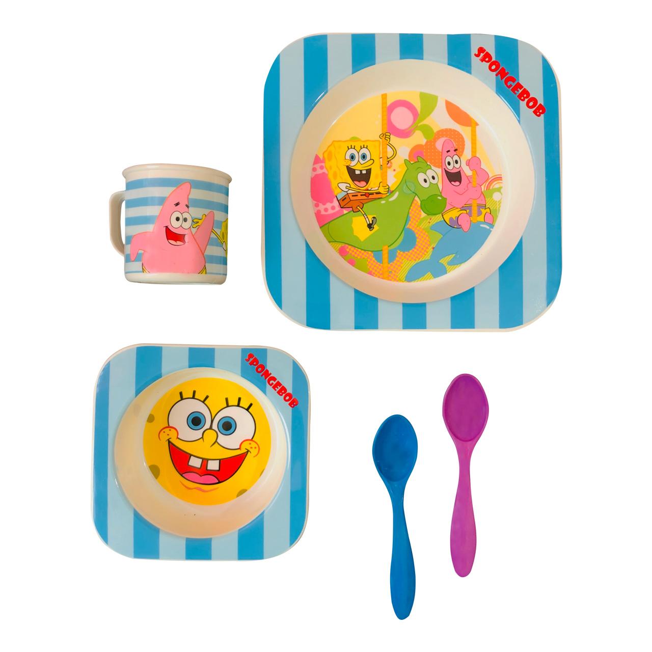 ظرف غذای 5 تکه کودک طرح باب اسفنجی کد SH-622