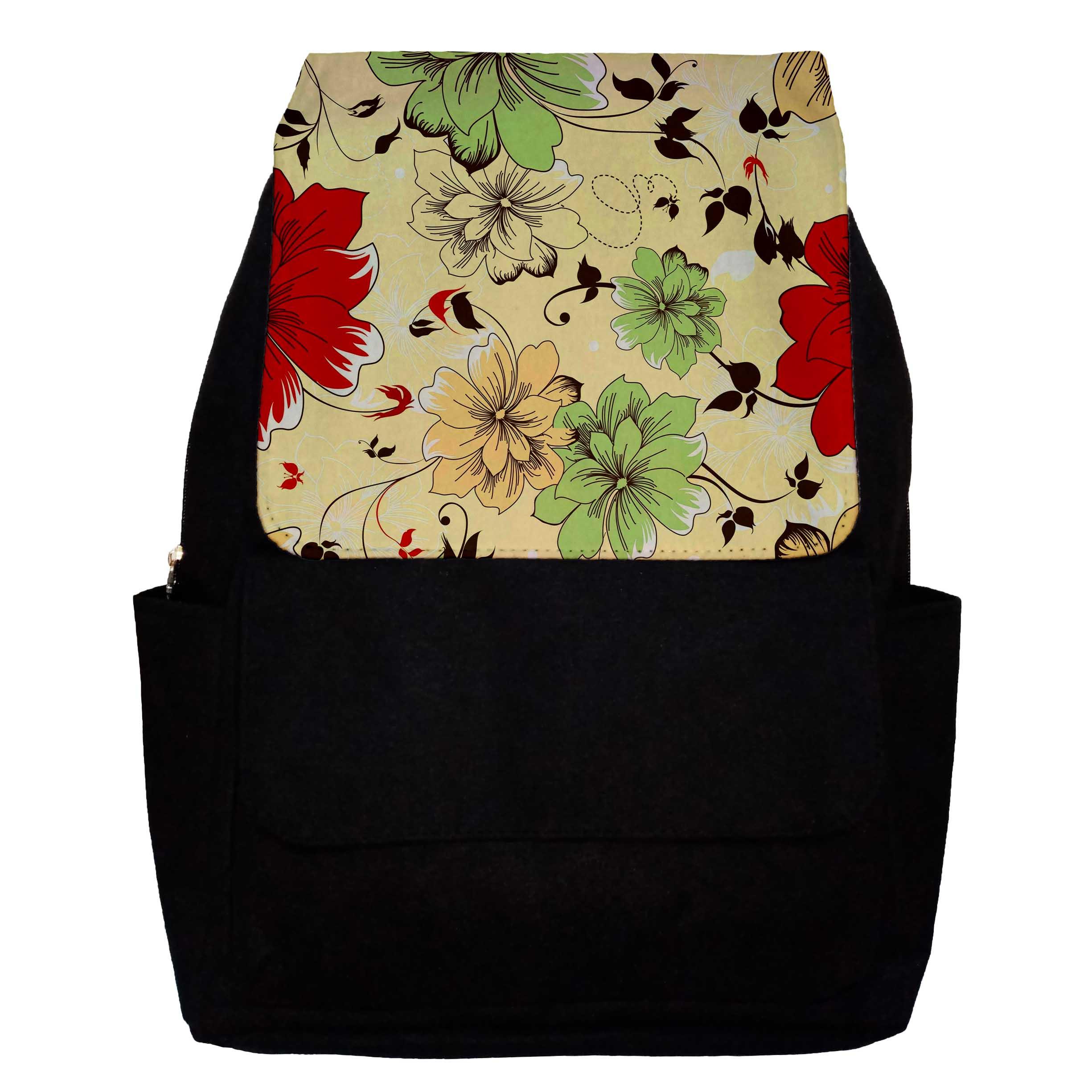 کوله پشتی دخترانه طرح Flowers مدل G21