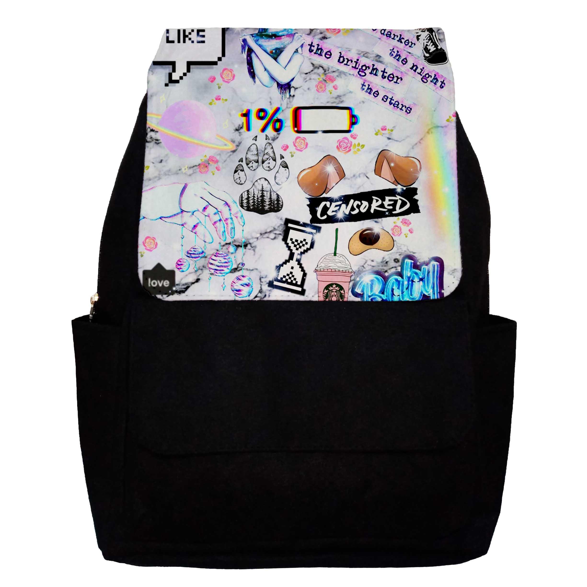 کوله پشتی دخترانه طرح Girly Collage مدل G21