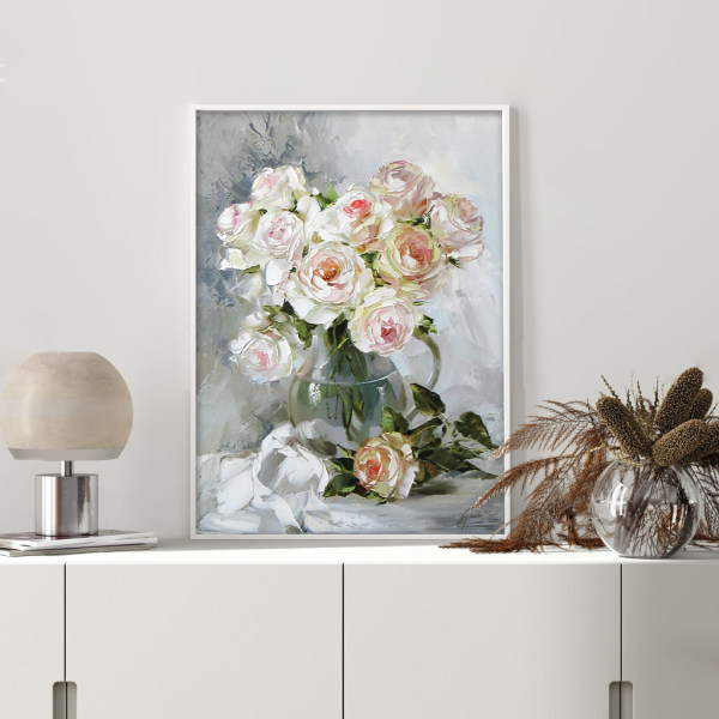 تابلو دیواری طرح گل نقاشی کد NS 004