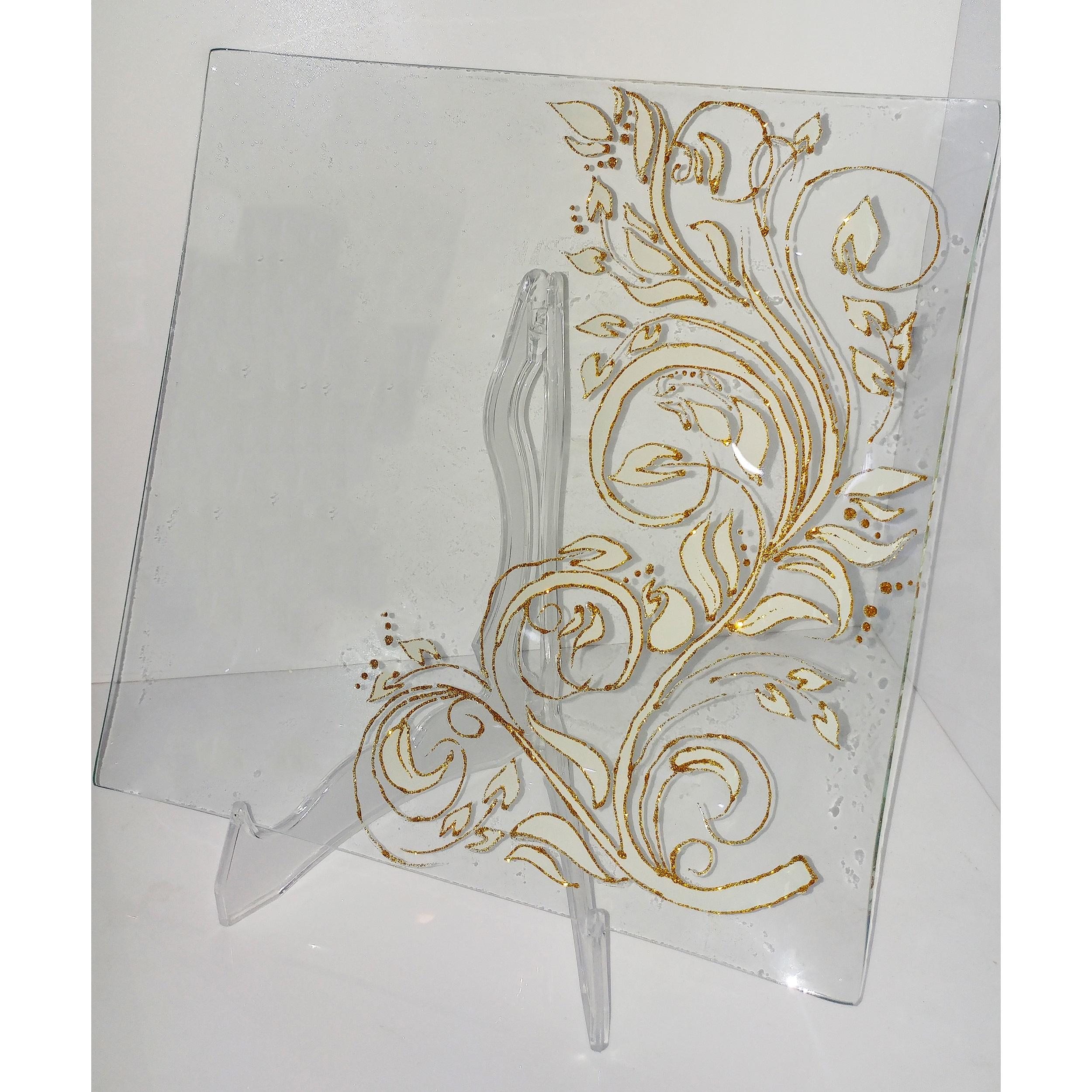 خرید                      بشقاب شیشه ای طرح برگ کد 03