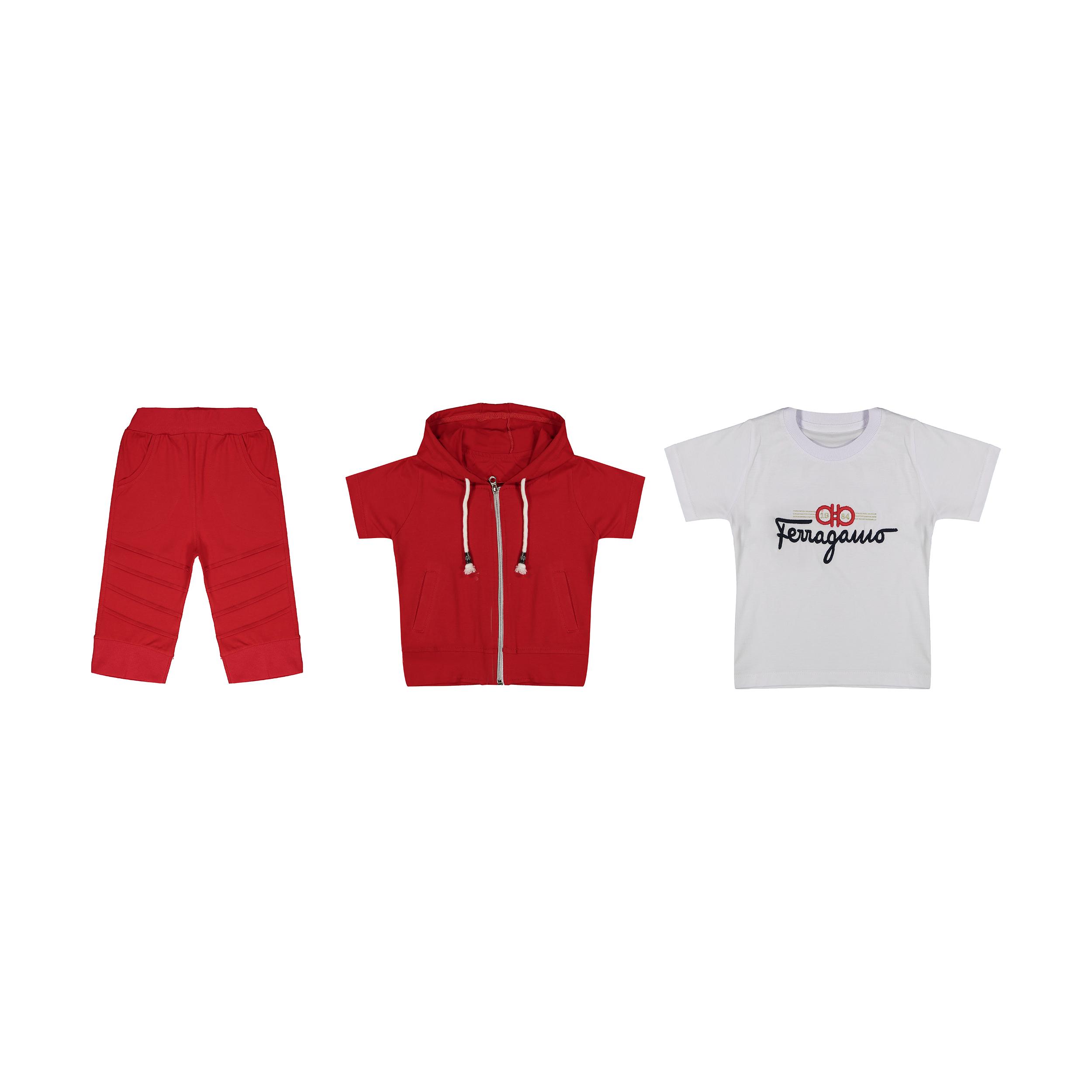 ست 3 تکه لباس پسرانه مدل HL-01 رنگ قرمز