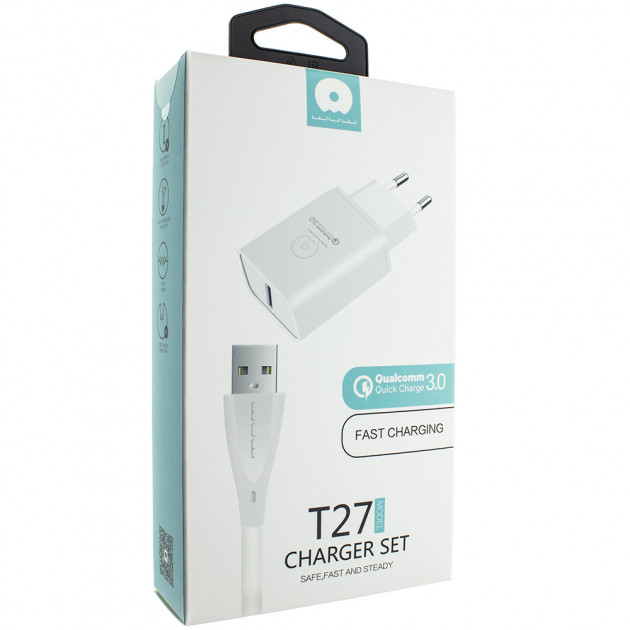 شارژر دیواری دبلیو یو دبلیو مدل T27 به همراه کابل تبدیل microUSB