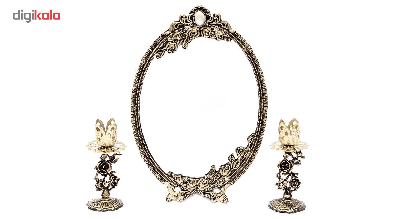آینه وشمعدان فلزی هفت سین آرت کن مدل AB730