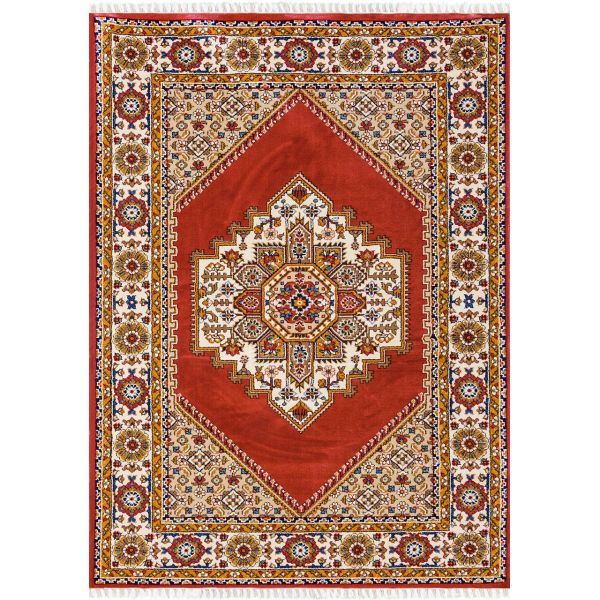 فرش ماشینی شاهکار مشهد طرح  گبه قشقایی 040 زمینه لاکی