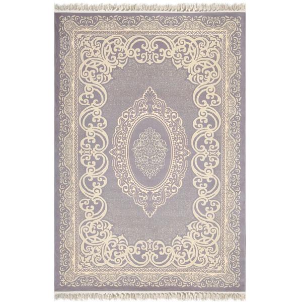 فرش ماشینی شاهکار مشهد طرح آزیتا مدرن 50041  زمینه نقره ای