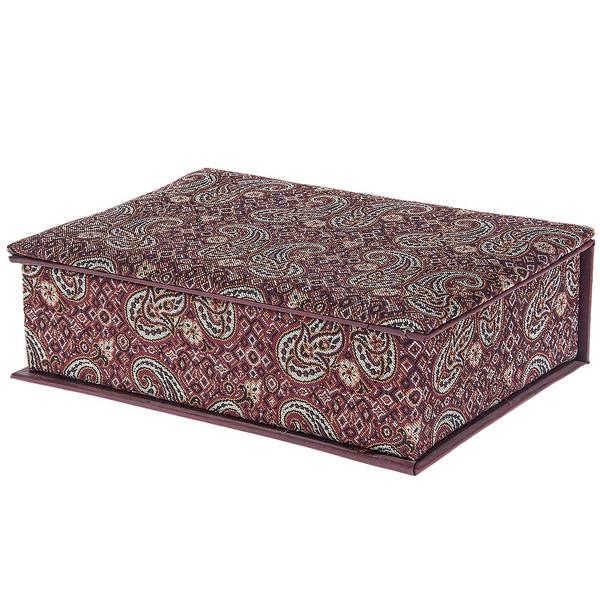 جعبه کارد و چنگال ترمه سنا مدل وزیری طرح جفت گل قرمز